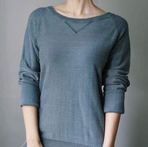 100% Stonewashed Cotton Sweater Boatneck Gray